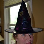 Witches Hat: Costume, Black – think nylon like fabric, rainbow spiders and webs (used)