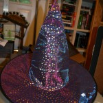 Witches Hat: Costume, purple – gold stars and shiny two layer gauze/fabric (used)