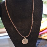 Tree of Life Pewter pendant necklace on brown braided cord with clasp 26 mm