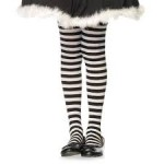 Black and White Striped Child Tights (Child-Large)